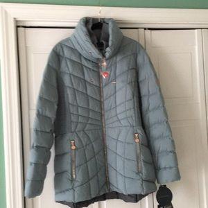 Ski Jacket, Seafoam Green with rose gold hardware